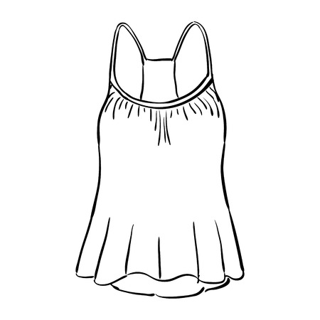tank top: Racerback tank top sketch isolated on white background. Vector illustration. Illustration