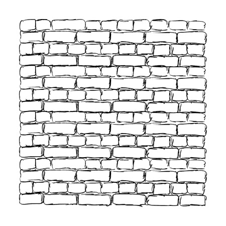 Brick wall rough sketch isolated on white background. Vector illustration.
