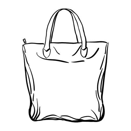 Playa bolso de mano boceto aislado en el fondo blanco. Ilustración del vector.