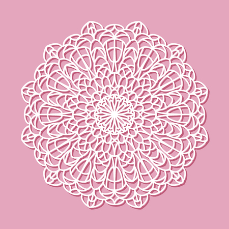 lazer: Beautiful mandala lace ornament on pink background for cards or invitations. Mandala round element. Vector illustration Illustration