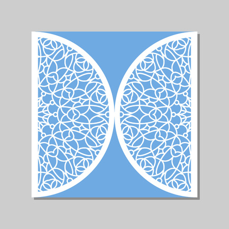 Wedding invitation or greeting card with mandala lace ornament. Die cut paper lace envelope template. Wedding invitation envelope template for laser cutting. Vector illustration.