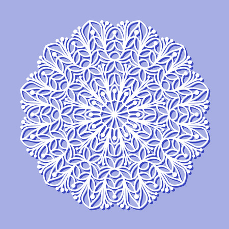 lazer: Beautiful mandala lace ornament on purple background for cards or invitations. Mandala lace round element. Vector illustration Illustration