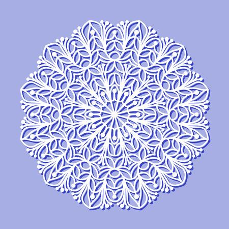 Beautiful mandala lace ornament on purple background for cards or invitations. Mandala lace round element. Vector illustration Ilustração