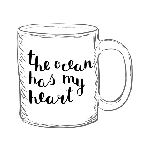 has: The ocean has my heart. Brush hand lettering. Handwritten words on a sample mug. Great for beach tote bags, swimwear, holiday clothes, mugs, home decor and more. Illustration