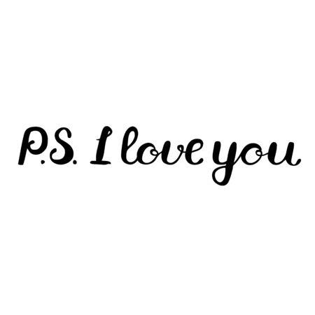 PS Ik hou van je lettering. Brush hand lettering. Groot voor foto overlays, posters, kaarten en meer.