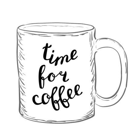 great coffee: Time for coffee. Brush hand lettering. Handwritten words on a sample mug. Great for mugs, posters, home decor and more.