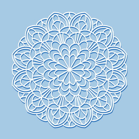 vector element: Beautiful mandala lace ornament on blue background for cards or invitations. Mandala round element. Vector illustration.