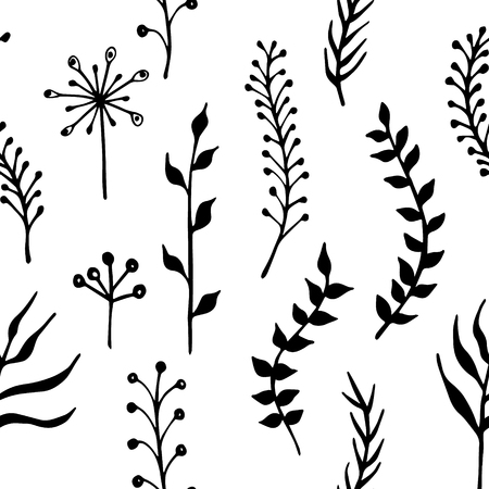 twigs: Floral simless pattern. Hand drawn herbs and twigs pattern for spring and summer design. Vector illustration.