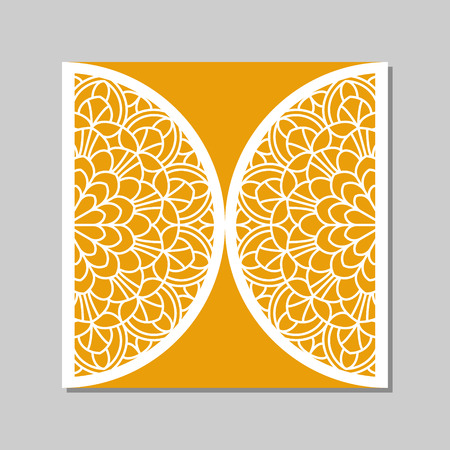 cut: Wedding invitation or greeting card with mandala lace ornament. Die cut paper lace envelope template. Wedding invitation envelope template for laser cutting. Vector illustration.