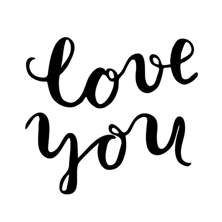 post scripts: Love you, brush lettering. Brush hand lettering. Great for photo overlays, posters, cards and more. Illustration
