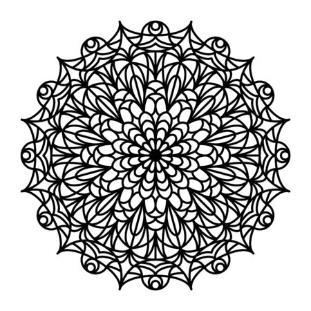 mandala: Mandala outline. Line mandala isolated on white background. Anti stress intricate black mandala for anti stress coloring books, cards, stamps, web design and more. Illustration