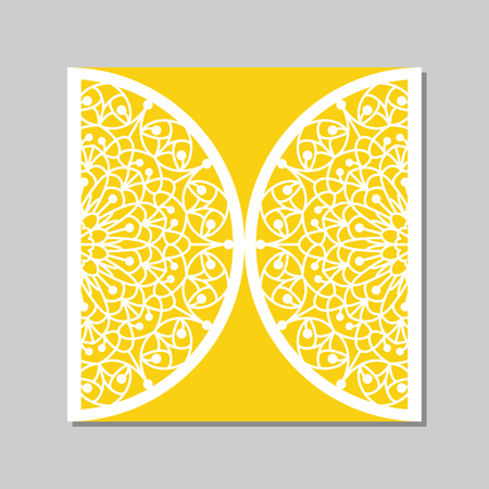 cutouts: Wedding invitation or greeting card with mandala lace ornament. Die cut paper lace envelope template. Wedding invitation envelope template for laser cutting. Vector illustration.