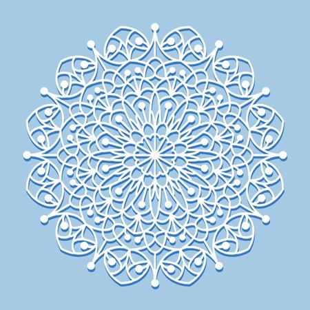 Beautiful mandala lace ornament on blue background for cards or invitations. Mandala round element. Vector illustration.