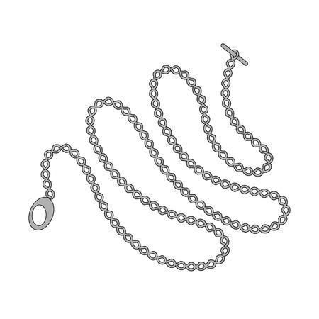 ポケット時計の長い鎖は、白い背景で隔離。ベクトルの図。