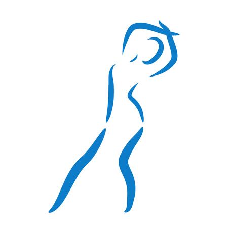 Sketched femme danse isolé sur fond blanc. Jazz danseur effectue un saut. Dancing girl illustration vectorielle.