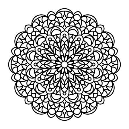 anti stress: Mandala outline. Line mandala isolated on white background. Anti stress intricate black mandala for anti stress coloring books, cards, stamps, web design and more. Illustration