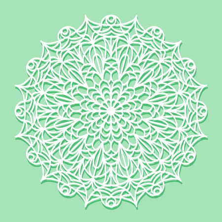 lazer: Beautiful mandala lace ornament on green background for cards, stamps, coloring books or invitations. Mandala round element.