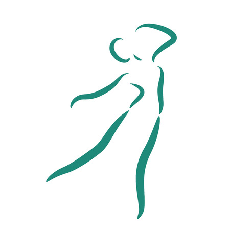 performing arts: Sketched dancing woman isolated on white background. Jazz dancer performs a jump. Dancing girl vector illustration.