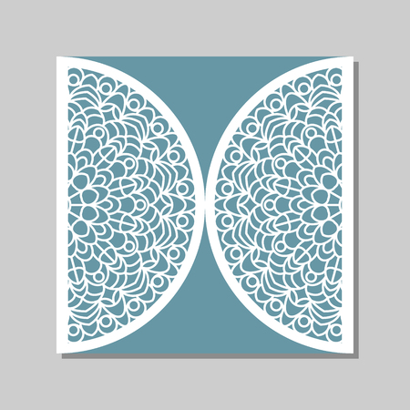 die cut: Wedding invitation or greeting card with mandala lace ornament. Die cut paper lace envelope template. Wedding invitation envelope template for laser cutting. Vector illustration.