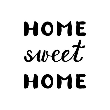 post scripts: Home sweet home, inspirational quote. Brush hand lettering. Great for photo overlays, posters, home decor, cards and more. Illustration