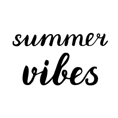 vibes: Summer vibes lettering. Brush hand lettering. Great for beach tote bags, swimwear, holiday clothes, posters, and more. Illustration