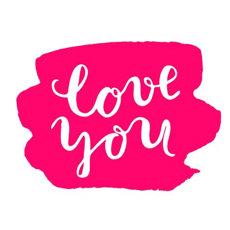 post scripts: Love you, brush lettering. Brush hand lettering on a red stain background. Great for photo overlays, posters, cards and more. Illustration