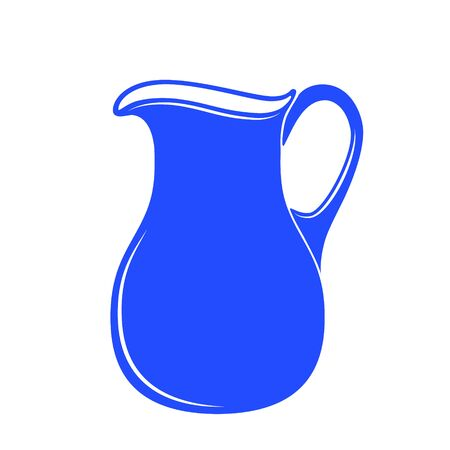 milk jug: Milk jug or pitcher in a blue and white. Vector illustration.