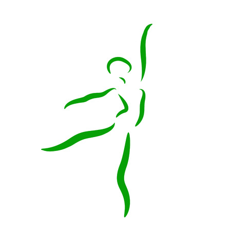 jazz dancer: Sketched dancing woman isolated on white background. Jazz dancer performs a jump. Dancing girl vector illustration.