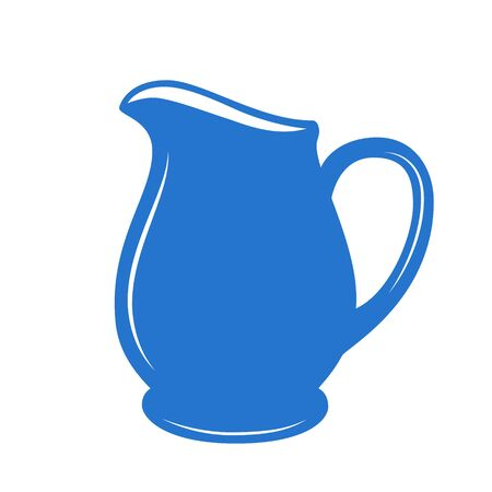 pitcher: Milk jug or pitcher in a blue and white. Vector illustration.