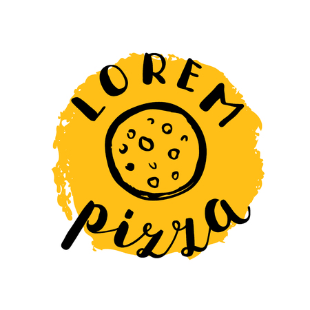 pizzeria label: Brush lettering label for pizzeria with hand drawn pizza. illustration for  badge or label, shop signboard or store front decoration.
