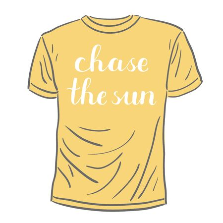 post scripts: Chase the sun. Brush hand lettering on a sample t-shirt. Great for photo overlays, posters, apparel design, holiday clothes, cards and more.