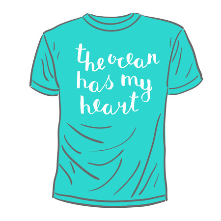 has: The ocean has my heart. Brush hand lettering. Handwritten words on a sample t-shirt. Great for beach tote bags, swimwear, holiday clothes, mugs, home decor and more. Illustration
