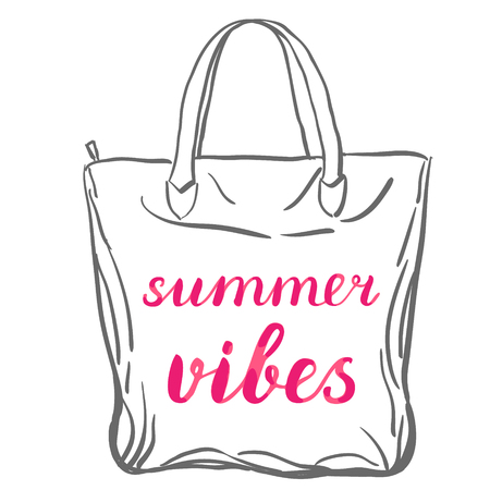 vibes: Summer vibes. Brush hand lettering on a sample tote bag. Great for beach tote bags, swimwear, holiday clothes, posters, and more. Illustration