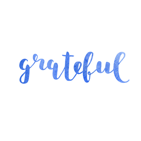 Grateful. Brush hand lettering. Inspiring quote. Motivating modern calligraphy. Can be used for photo overlays, posters, clothes, cards and more. Illusztráció