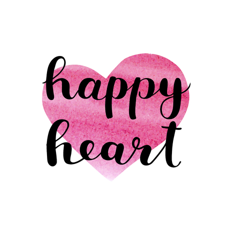 Happy heart. Brush hand lettering. Inspiring quote. Motivating modern calligraphy. Can be used for photo overlays, posters, clothes, cards and more. Illustration
