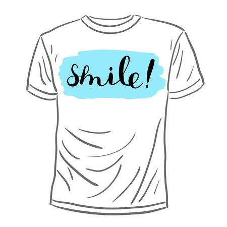 post scripts: Smile, handwritten inspirational quote. Brush hand lettering on a sample t-shirt. Great for photo overlays, posters, apparel design, cards and more.