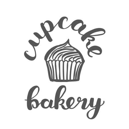 bakery store: Brush lettering label for cupcake bakery with hand drawn cupcake. Raster illustration for logo, badge or label, shop signboard or store front decoration.