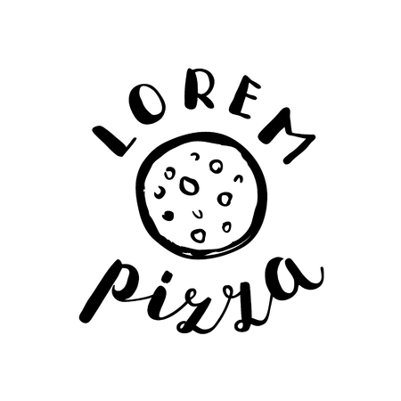 pizzeria label: Brush lettering label for pizzeria with hand drawn pizza. Vector illustration for logo, badge or label, shop signboard or store front decoration.