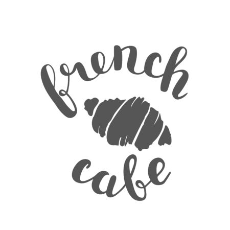 french cafe: Brush lettering label for french cafe with hand drawn croissant. Raster illustration for logo, badge or label, cafe signboard or store front decoration. Stock Photo