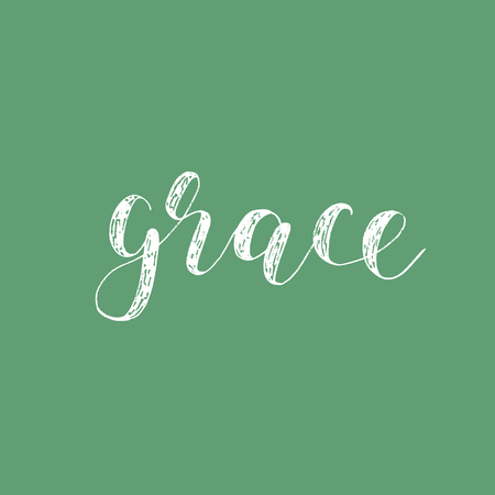 overlays: Grace. Brush hand lettering. Inspiring quote. Motivating modern calligraphy. Can be used for photo overlays, posters, holiday clothes, cards and more. Illustration