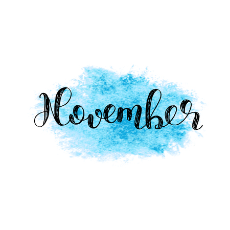 November. Brush hand lettering. Inspiring quote. Motivating modern calligraphy. Can be used for photo overlays, posters, holiday clothes, cards and more. Illusztráció