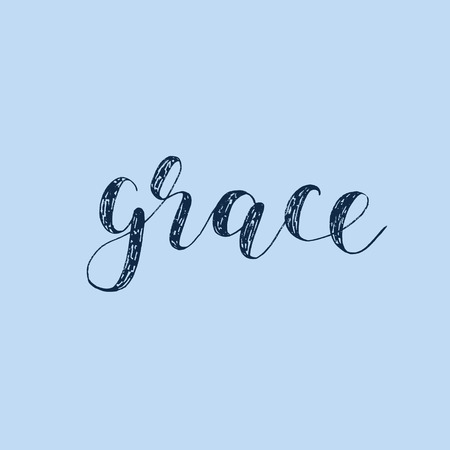 Grace. Brush hand lettering. Inspiring quote. Motivating modern calligraphy. Can be used for photo overlays, posters, holiday clothes, cards and more. Illustration