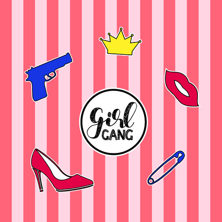 girl with gun: Set of fashion badges, stickers, pins and patches including girl gang quote, gun, crown, high heel shoe and red lips on striped background. Illustration