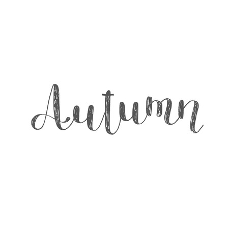 overlays: Autumn. Brush hand lettering. Inspiring quote. Motivating modern calligraphy. Can be used for photo overlays, posters, holiday clothes, cards and more. Stock Photo