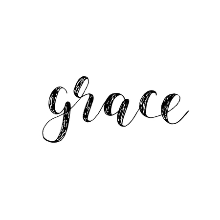 Grace. Brush hand lettering. Inspiring quote. Motivating modern calligraphy. Can be used for photo overlays, posters, holiday clothes, cards and more. Ilustrace