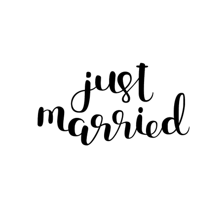 Just married. Brush hand lettering. Modern calligraphy. Can be used for photo overlays, posters, wedding cards and more. Illusztráció