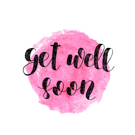 ink well: Get well soon. Brush lettering. Inspiring quote. Motivating modern calligraphy. Can be used for photo overlays, posters, holiday clothes, cards and more.