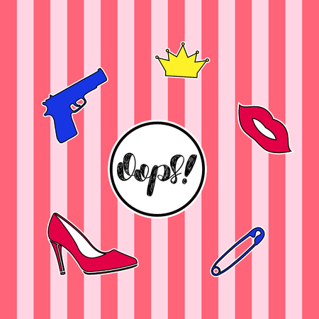 high heel shoe: Set of fashion badges, stickers, pins and patches including oops quote, gun, crown, high heel shoe and red lips on striped background.