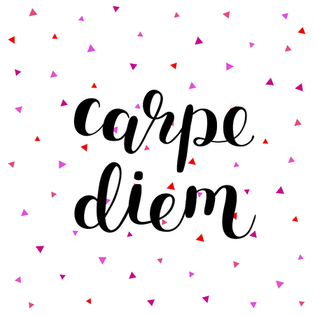 seize: Carpe diem. Seize the day. Brush lettering illustration. Inspiring quote. Motivating modern calligraphy. Can be used for photo overlays, posters, prints, home decor, cards and more.