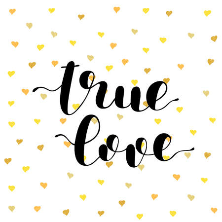 true: True love. Brush hand lettering vector illustration. Inspiring quote. Modern calligraphy. Can be used for photo overlays, posters, apparel design, prints, home decor, greeting cards and more.